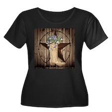 floral cowboy boots texas star Plus Size T-Shirt