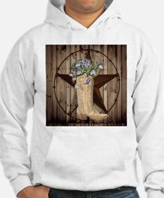 floral cowboy boots texas star Hoodie