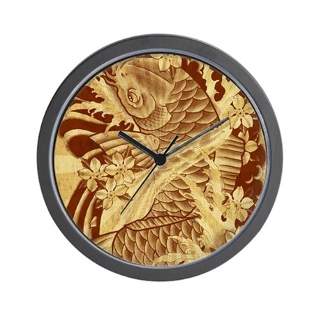 Vintage japanese koi fish wall clock by admin cp62325139 for Fish wall clock
