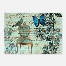 mint vintage jubilee butterfly flor 5'x7'Area Rug