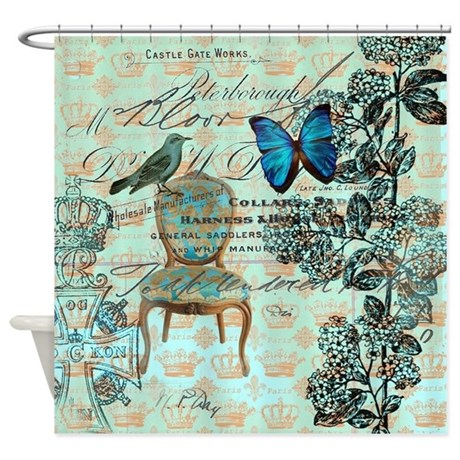 mint vintage jubilee butterfly flor Shower Curtain by