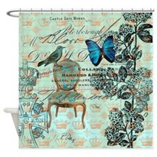mint vintage jubilee butterfly flor Shower Curtain