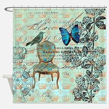 mint vintage jubilee butterfly flor Shower Curtain