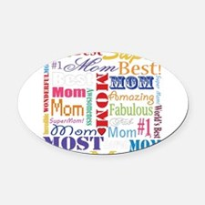 Text Mom Oval Car Magnet