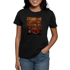 country love hearts horseshoe woodgrain T-Shirt