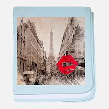 vintage eiffel tower paris art baby blanket