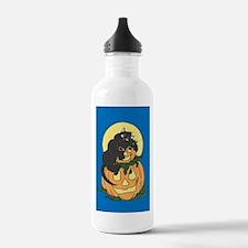 Black Cat and Pumpkin Water Bottle