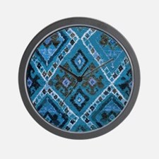 Blue Diamond Tribal Design Wall Clock