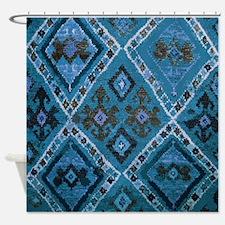 Blue Diamond Tribal Design Shower Curtain