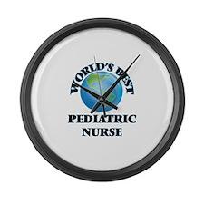 World's Best Pediatric Nurse Large Wall Clock