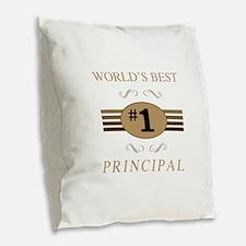 World's Best Principal Burlap Throw Pillow