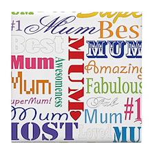 Text Mum Tile Coaster