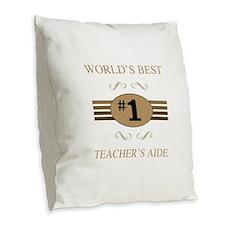 World's Best Teacher's Aide Burlap Throw Pillow