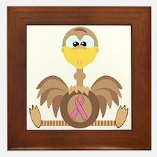 Pink Awareness Ribbon Ostrich Framed Tile