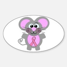 Pink Awareness Ribbon Mouse Oval Decal