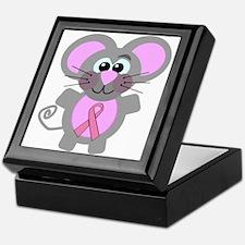Pink Awareness Ribbon Mouse Keepsake Box