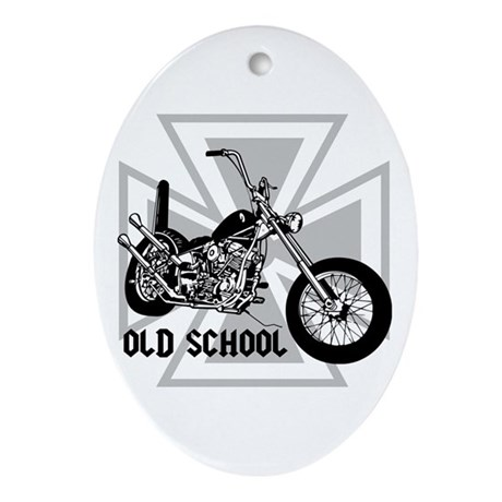 Old School Chopper Oval Ornament