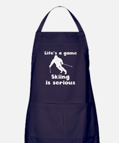 Skiing Is Serious Apron (dark)
