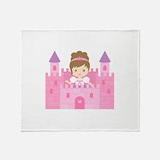 Cute Princess in Pink Castle Throw Blanket