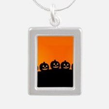 Pumpkins! Silver Portrait Necklace