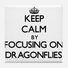 Keep Calm by focusing on Dragonflies Tile Coaster