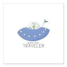 "The Traveler Square Car Magnet 3"" x 3"""