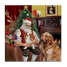 Santa with his Cavalier & Golden Tile Coaster
