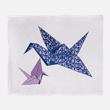 Origami Crane Throw Blanket