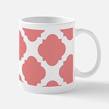 Chic Coral and White Quatrefoil Mug