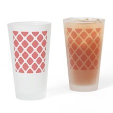 Chic Coral and White Quatrefoil Drinking Glass