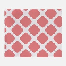 Chic Coral and White Quatrefoil Throw Blanket