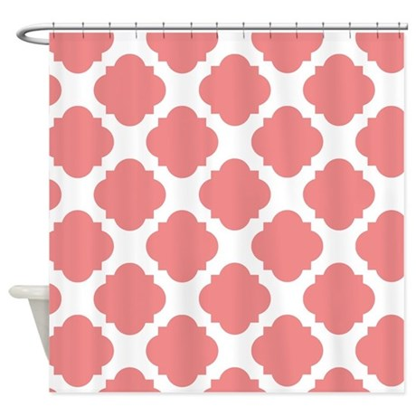 Chic Coral And White Quatrefoil Shower Curtain By Bimbys