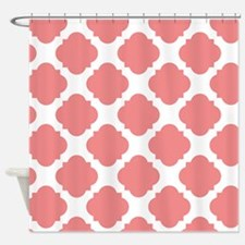 Chic Coral and White Quatrefoil Shower Curtain