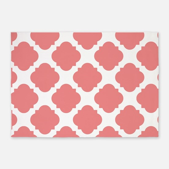 Chic Coral and White Quatrefoil 5'x7'Area Rug