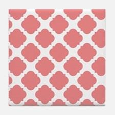 Chic Coral and White Quatrefoil Tile Coaster