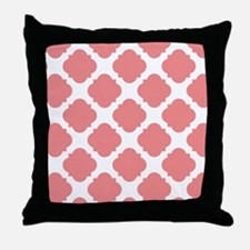 Chic Coral and White Quatrefoil Throw Pillow