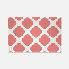 Chic Coral and White Quatrefoil Rectangle Magnet