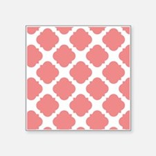 """Chic Coral and White Quatre Square Sticker 3"""" x 3"""""""