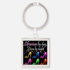 FOXY LIBRARIAN Square Keychain
