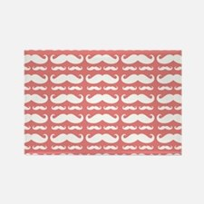 Coral and White Mustach Rectangle Magnet (10 pack)