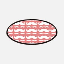 Coral and White Mustache Pattern Patches