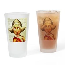 Dutch Girl Painted On Wood Drinking Glass