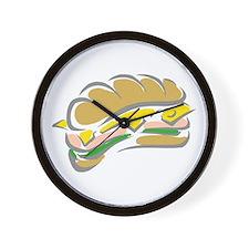 Hoagie Sub Grinder sandwich on roll Wall Clock