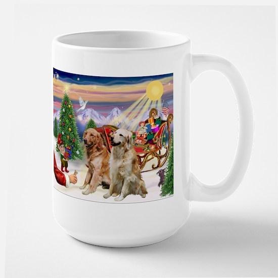 Santa's Treats for his Two Goldens Large Mug