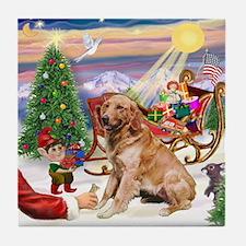 Santa's Treats for His  Golden Tile Coaster