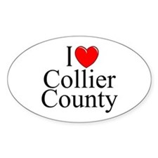 """I Love Collier County"" Oval Decal"