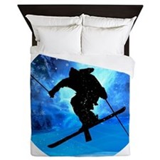 Winter Landscape and Freestyle Skier Queen Duvet