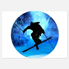 Winter Landscape and Freestyle Skier Invitations