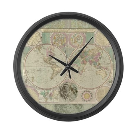 Bowles Antique Map Large Wall Clock By Artoffoxvox