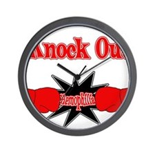 Knock Out Hemophilia red.png Wall Clock